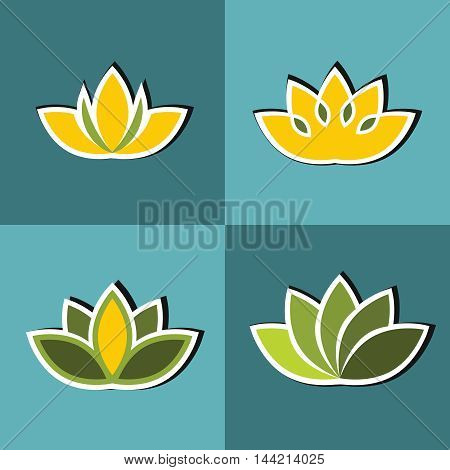 Color flat flowers with white stroke on blue background. Floral element set. Vector illustration