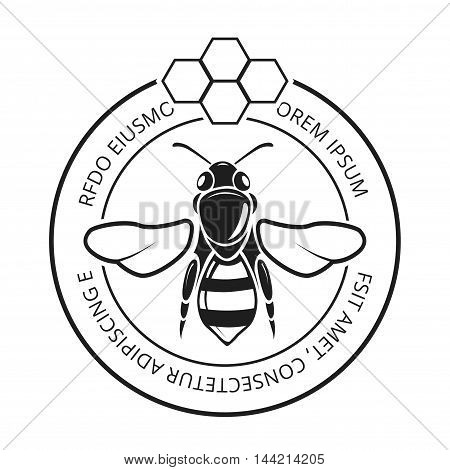 Retro honeybee, beekeeper, honey logo. Natural symbol and label with honeycomb, vector illustration