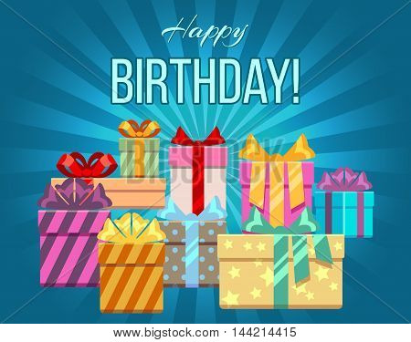 Happy birthday greeting card with a heap of gift boxes. Banner with heap gift box, vector illustration