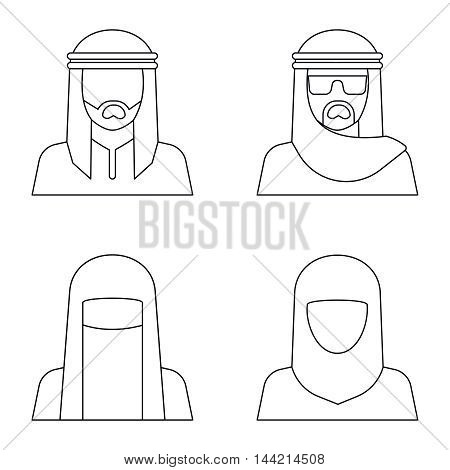 Middle Eastern people avatar in line style on white background. Vector illustration