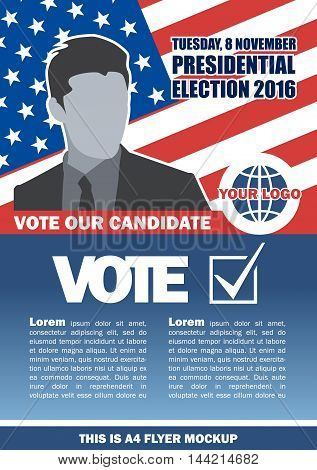 Usa 2016 election a4 flyer mockup with country map vote checkbox and male candidate. Digital vector image