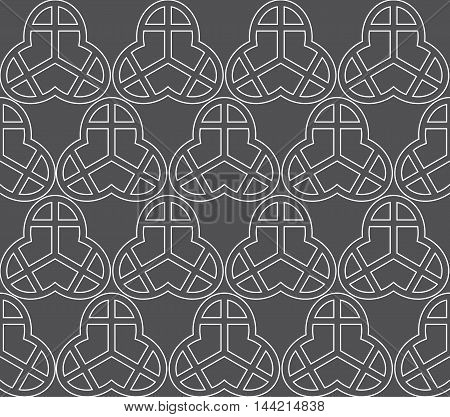 Vector background in grey and white. Geometric ornament pattern with repeating elements.