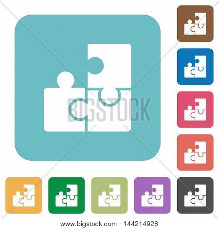 Flat puzzle icons on rounded square color backgrounds.
