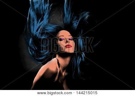 woman in dance motion hair fly  pop art style
