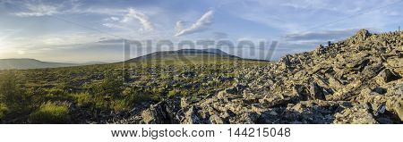 The panoramic view from one of the tops of Northern Urals