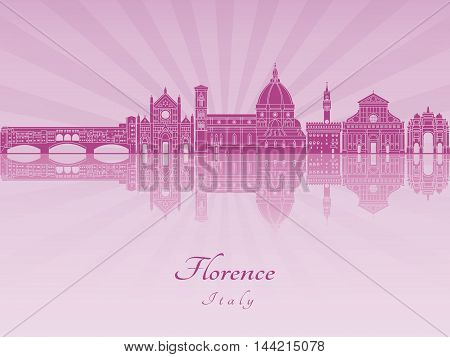 Florence skyline in purple radiant orchid in editable vector file