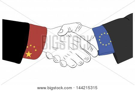 Handshake of the chinese and european hands