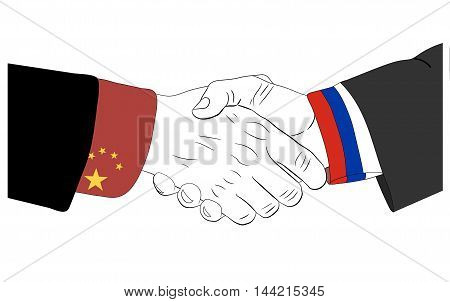 Handshake of the russian and chinese hands