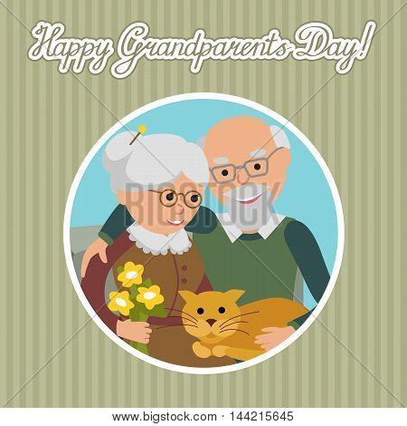 Greeting card for grandparents day. Senior people illustration.