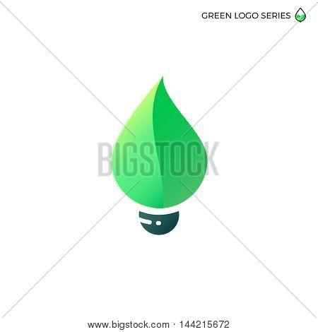 Leaf bulb. Leaf logo. Green energy logo. Bio energy.