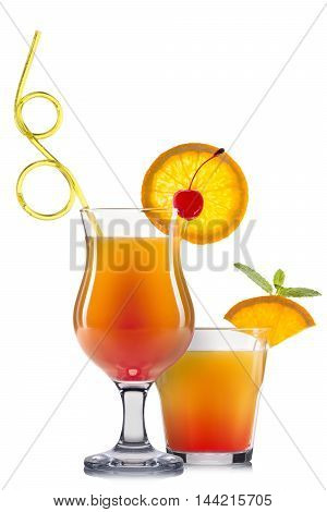 Set of orange cocktails with decoration from fruits and colorful straw isolated on white background.