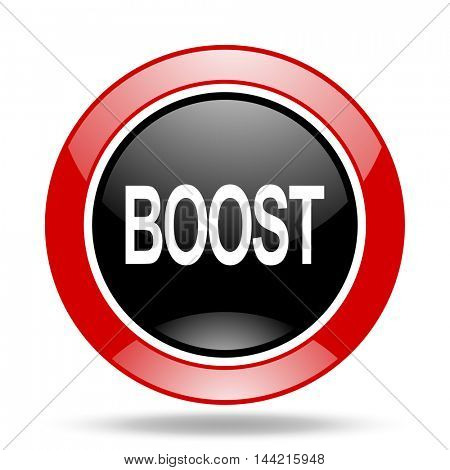 boost round glossy red and black web icon
