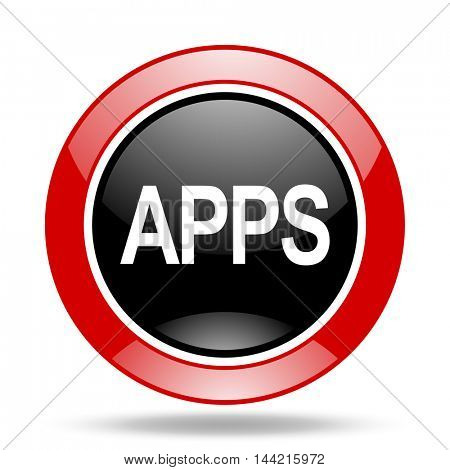 apps round glossy red and black web icon