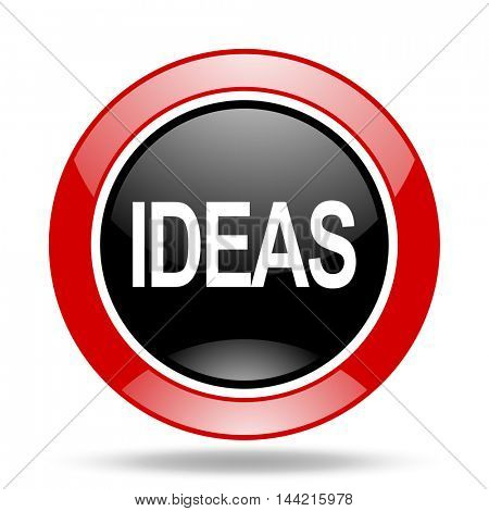 ideas round glossy red and black web icon