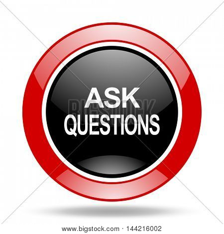 ask questions round glossy red and black web icon
