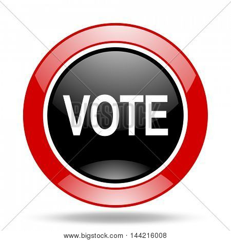 vote round glossy red and black web icon