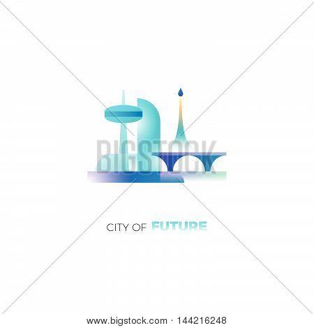 City of future concept. Building and construction company logo. Vector design template of future city. Skyscraper, bridge, rocket launch icons