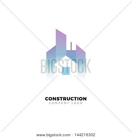 Building and construction company logo. Skyscraper and small house. City vector design template.