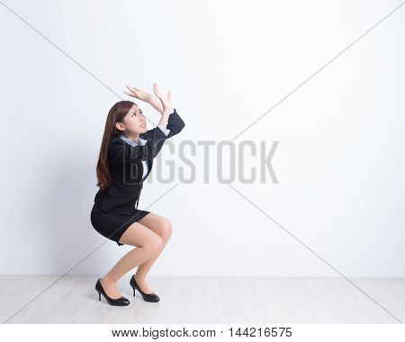 business woman fear something with white wall background great for your design or text asian