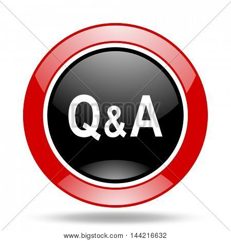 question answer round glossy red and black web icon