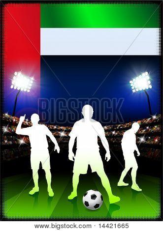 United Arab Emirates Flag with Soccer Player on Stadium Background Original Illustration