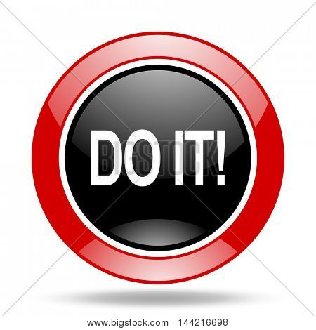 do it round glossy red and black web icon