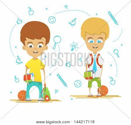 Character design. Happy schoolboys with a briefcase back to school. Icons on the background