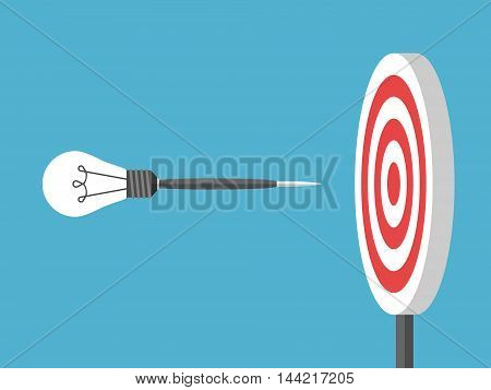 Dart with lightbulb flying to target on blue background. Goal innovation and creativity concept. Flat design. Vector illustration. EPS 8 no transparency