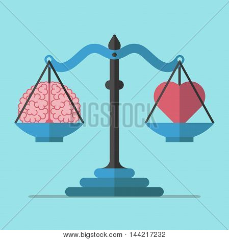 Scales weighing brain and heart on blue background. Balance mind logic and emotion concept. Flat design. Vector illustration. EPS 8 no transparency