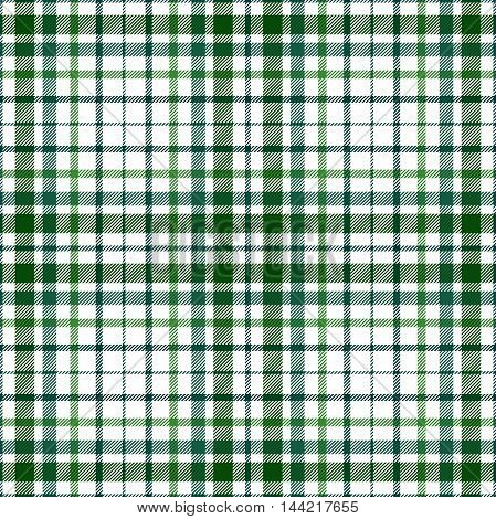 Seamless tartan plaid pattern. Twill stripes in darker shades of green on white background.