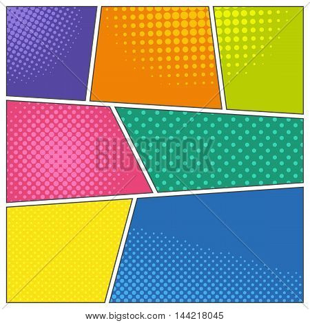 Comic book frames in different colors with dotted and halftone effects. Pop-art style background. Blank template