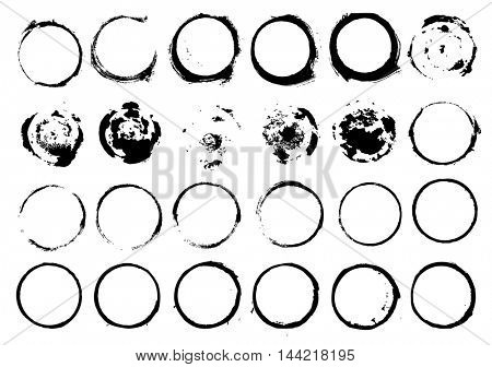 Set of grunge circle brush strokes isolated on white background. Vector illustration.