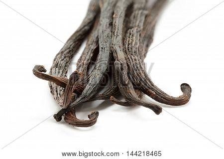 Organic dry sticks of Vanilla (Vanilla planifolia) isolated on white background. Macro close up. Front view.