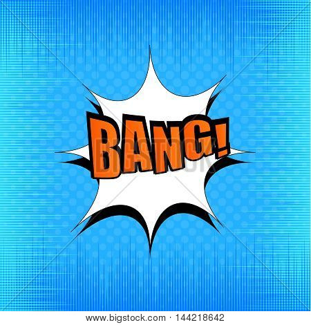 Bang comic bubble wording. Pop-art style. Modern funny rays background. Explosion vector illustration. Halftone effect