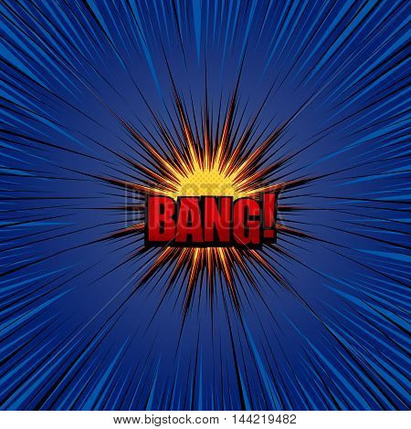 Bang comic cartoon. Pop-art style. Vector illustration with explosive star, halftone effect and rays. Explosion template
