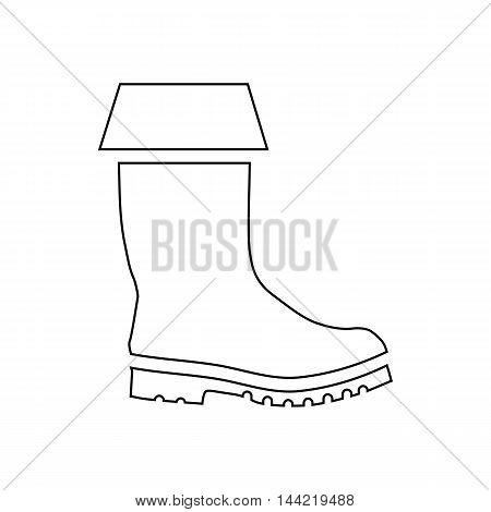 Rubber boot icon in outline style isolated on white background