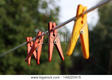 Pins on a rope of red and yellow