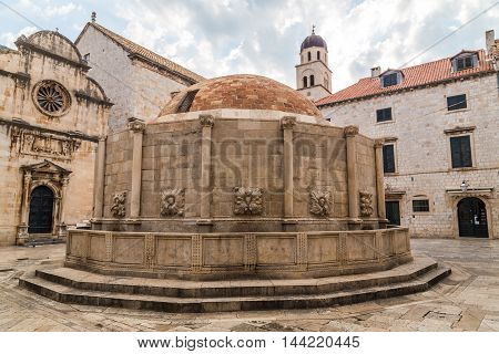 A view of Onofrio's Big Fountain at Poljana Paskoja in Dubrovnik Old Town during the day