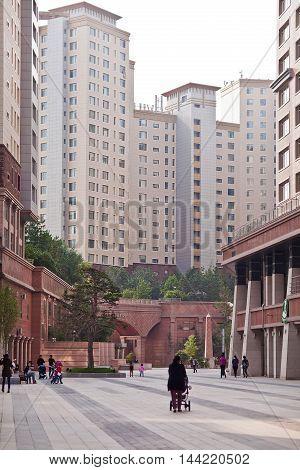Astana, Kazakhstan - 28 July, 2016: The luxurious courtyard residential complex Highvill in Astana, Kazakhstan