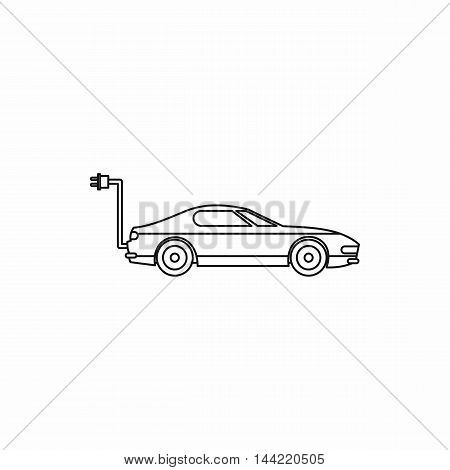 Electric car icon in outline style isolated on white background