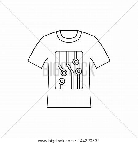 Electronic scheme t-shirt icon in outline style isolated on white background