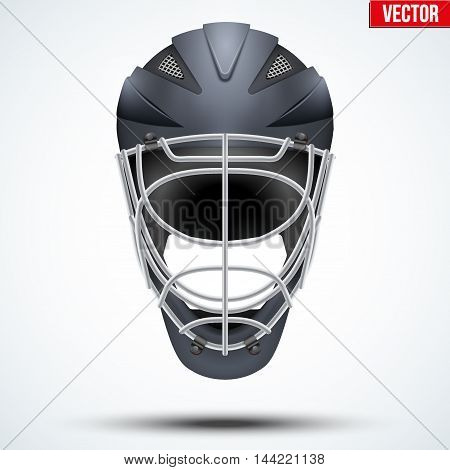 Classic black Goalkeeper Ice and Field Hockey Helmet isolated on Background. Sport Equipment. Editable Vector illustration isolated on white background.