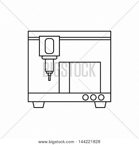 3D printer icon in outline style isolated on white background