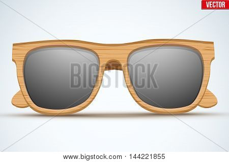Vintage sunglasses with wooden frame. Fashion modern design. Vector Illustration isolated on white background.