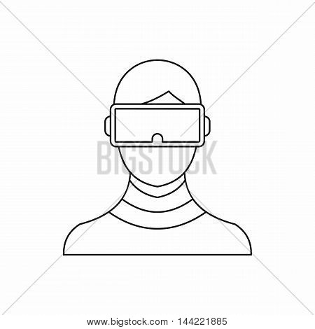 Virtual reality glasses icon in outline style isolated on white background