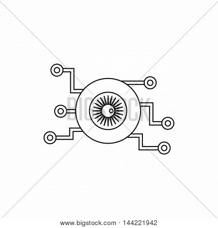 Cyber eye symbol icon in outline style isolated on white background