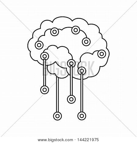 Sensors on human brain icon in outline style isolated on white background