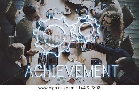Business Achievement Progress Development Cogwheel Concept