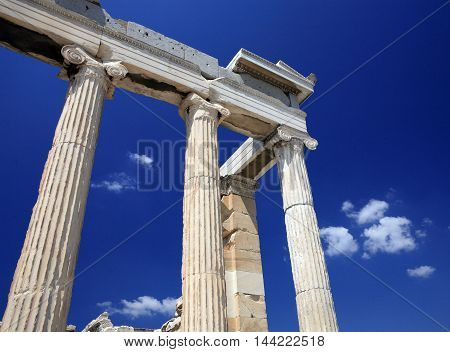 Ruins of ancient Greece in the summer