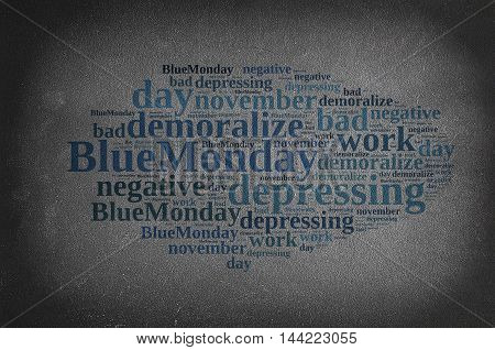 Blackboard With Word Cloud On Blue Monday.